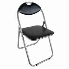 Folding Office Chair Padded Black Faux Leather Fold-up Seat Backrest Dining Home