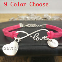 Personalized,Silver aunt gift bracelet pendants,Infinity love Leather Bracelet