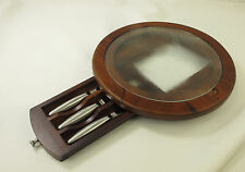 Vintage Wood Cutting Board Cheese Tray Tempered Glass Stainless Cutlery Trudeau