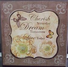 Shabby Chic Wooden Plaque- Cherish-Dream-Live.....Lemon