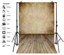 Retro Damask Wall Backdrop 6.5x10ft Background Studio Photo Props Wooden Floor
