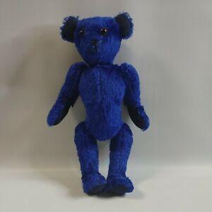 "Antique Jointed Teddy Bear Blue 16"" (Please Read Description)"