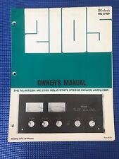 McINTOSH MODEL MC-2105 ORIGINAL OWNER'S MANUAL
