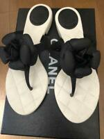 CHANEL Camellia Sandals Black White EUR37 Flower Thong Flats USED FromJapan F/S
