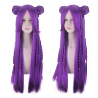 LOL League of Legends KDA Kaisa Purple Long Straight Braid Buns Cosplay Wig Hair