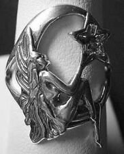 LOOK Celtic Moon and star Fairy Goddess Genuine Sterling silver 925 ring Jewelry