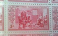 U.S. Sheet of 50 3¢ Stamps #1004 200th Anniversary of Betsy Ross Birth, 1952 MNH