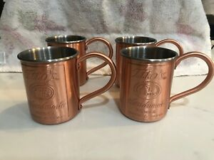 TITO'S HANDMADE VODKA MOSCOW MULE STAINLESS STEEL/COPPER MUGS SET OF 4....NEW!!!