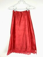 Vintage HALF SLIP Bright RED Embossed Satin DEENA Red Lace Trim Size Small