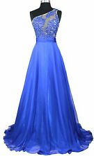 Women's Formal One shoulder Embroidery beaded Long Evening Gown prom dress