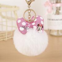Cute Mickey Minnie Mouse Key chain Pom Pom Fluffy Fur Ball Keychain Car Keyring