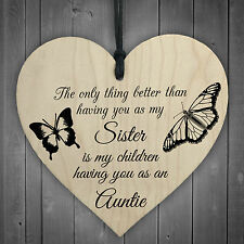 SISTER Children Having You As Auntie Gift Wooden Hanging Heart Aunt Sign Wedding