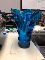 "ANTIQUE MID CENTURY MODERN BLUE VENETIAN ITALIAN ART GLASS VASE 11"""