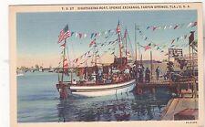 """*Florida Postcard-""""Sightseeing Boat"""" -Sponge Exchange, Tarpon Springs, FL (#329)"""