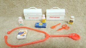 Vintage Toy 1970's Medic Nurse Doctor First Aid Kit Stethoscope Carrying Case