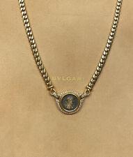 Vintage Bvlgari 18K Yellow Gold Ancient Coin Diamond Monete Necklace
