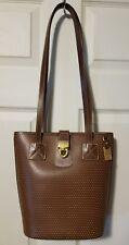 Dooney & Bourke Cabriolet Brown Perforated Leather Bucket Solid Shoulder Bag USA