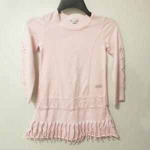Naartjie Pink Dress Girls L 6 Cut Out Floral Sleeves & Fringe Beautiful EUC