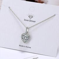 Crystal Zircon Heart 925 Sterling Silver Pendant Necklace Women Fashion Jewelry