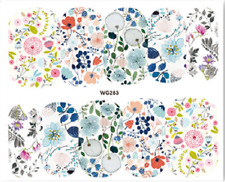 Nail Art Stickers Water Decals Transfers Colourful Flowers (WG283)