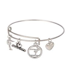 Handmade Alloy Silver Tone I love gymnastics Charms Bracelet Bangle Jewelry