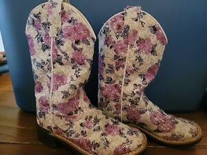 OLD WEST Western Boots Roper Heel Floral Fabric VB9151 Girl's Size 12 D