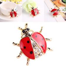 Animal Pins Gold-plated Brooches Pins Women Crystal Rhinestone Ladybug Brooch
