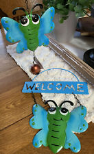 "2x Garden Pool Yard Metal Welcome Sign Butterfly Front Door Sign Hanging 6"" Hl8"