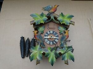 REGULA CUCKOO CLOCK GERMANY G.M. 1705294 COMPLETE W/ TOPPER 3 PINECONE WEIGHTS