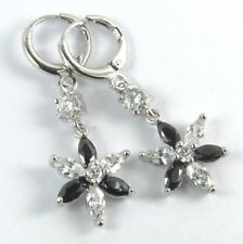 and White Crystal Earrings Women's White Gold Plated Black