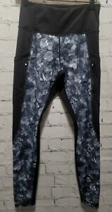 ATHLETA Women's Black & Gray Floral Print 7/8 Leggings Size Small