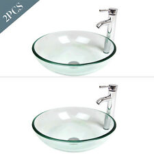 2x Round Bathroom Glass Vessel Sink Faucet Pop-up Drain Combo Clear Bowl