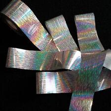 SILVER HORIZONTAL LINES Holographic Nail Art Foil Decoration Wrap Transfer