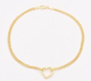 "10"" Open Shiny Heart Anklet Bracelet w/ Double Rolo Chain Real 10K Yellow Gold"