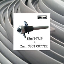 15 METRES SILVER SINGLE LIPPED T TRIM EDGING + 2mm SLOT CUTTER FOR 15MM BOARDS