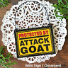 Mini Sign / Ornament PROTECTED BY ATTACK GOAT Door Hanger Decowords USA