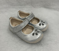 Girls Clarks Infant Softly Eden Silver Leather Size 5.5F