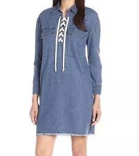 NWT Joe's Eveline Lace Up Denim Dress Size S Blue
