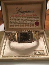 14K SOLID GOLD Vintage LONGINES 17J MENS BLACK FACE DRESS WATCH