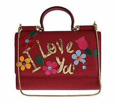 NEW $1400 DOLCE & GABBANA Bag Purse VON Red Leather Sequined Phone Hand Shoulder