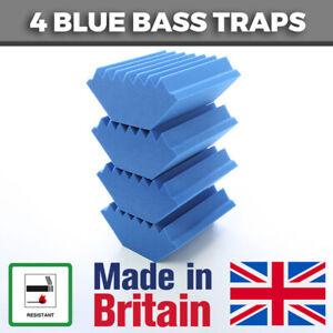 4 Blue Acoustic Foam Bass Traps Corner Traps For Studio Sound Acoustic Treatment