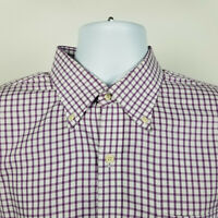 Peter Millar Nanoluxe Easycare Mens Lavender Purple Check Dress Button Shirt XL