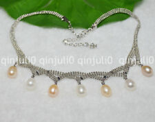 Charming! 8-9mm White Pink Multi-colored Akoya Cultured Pearl Necklace JN695