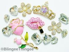 DIY Rhinestone Alloy Crown 3D Pink Lips Flatback Kawaii Cabochon Deco Bling Kit
