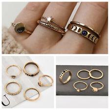 5Pcs/Set Women Vintage Simple Retro Star Moon Letter Boho Ring Fashion Jewelry