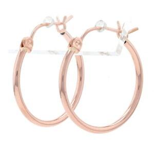 Rose Gold Round Hoop Earrings - 14k Pierced Snap Closures