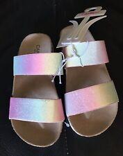 Capelli New York Kids Girls Flat Slider Satin Silky Bow Flip Flop Pink Silver