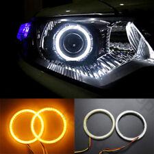 LED Angel Eyes Light White Drive Yellow Turn Signal Car Headlight Halo Ring 70mm