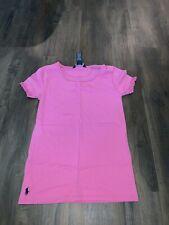 Polo Ralph Lauren Girls Pink Ruffled Short Sleeve Shirt Large 12/14