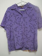 Woman's Purple and Black Button Up Shirt by Notations  L Large 12-14
